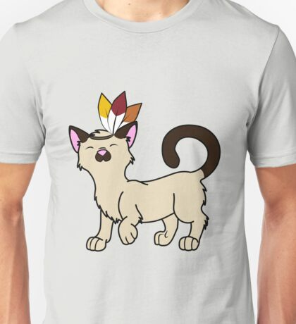 Thanksgiving Siamese Cat with Indian Headdress Unisex T-Shirt
