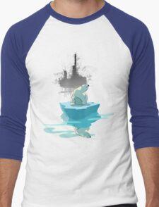 global warming illustration / print : NEED MORE ICE NOT OIL Men's Baseball ¾ T-Shirt