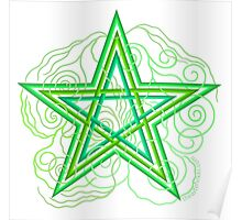 Green Pentagram With Swirly Vines Magic Wicca Symbol Poster