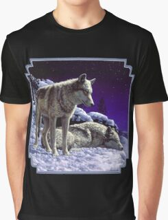 Night Watch - Wolves Oil Painting Graphic T-Shirt