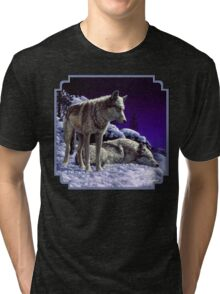 Night Watch - Wolves Oil Painting Tri-blend T-Shirt