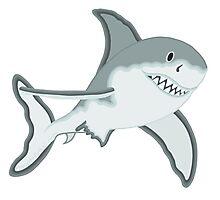 Gray Great White Shark Cartoon Fanciful Sea Creature Photographic Print