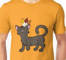 Thanksgiving Black Cat with Indian Headdress Unisex T-Shirt