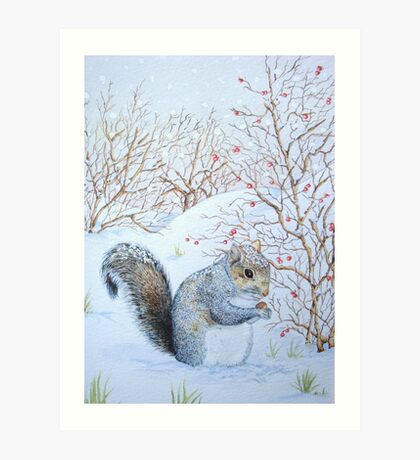 Cute grey squirrel snow scene wildlife art  Art Print