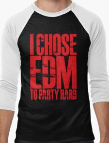 I Chose EDM To Party Hard (red) Men's Baseball ¾ T-Shirt