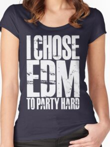 I Chose EDM To Party Hard (white) Women's Fitted Scoop T-Shirt