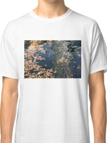 Skyscrapers' Reflections and Fallen Autumn Leaves Classic T-Shirt