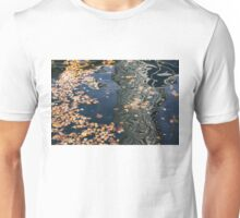 Skyscrapers' Reflections and Fallen Autumn Leaves Unisex T-Shirt
