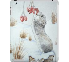 Cute mouse and red berries snow scene wildlife art   iPad Case/Skin