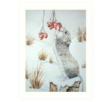 Cute mouse and red berries snow scene wildlife art   Art Print