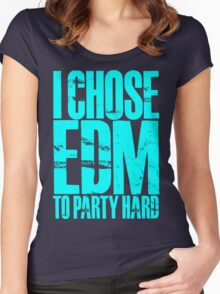 I Chose EDM To Party Hard (cyan) Women's Fitted Scoop T-Shirt