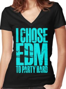 I Chose EDM To Party Hard (cyan) Women's Fitted V-Neck T-Shirt