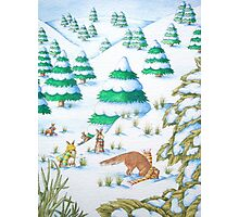 cute fox and rabbits christmas snow scene Photographic Print