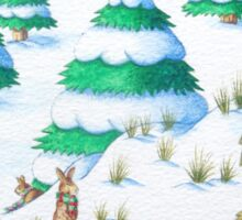cute fox and rabbits christmas snow scene Sticker