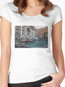 Rome's Fabulous Fountains - Trevi Fountain, No Tourists Women's Fitted Scoop T-Shirt