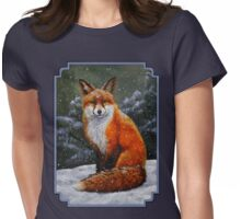 Red Fox in Snow Womens Fitted T-Shirt