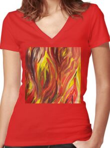 Abstract Flames Women's Fitted V-Neck T-Shirt
