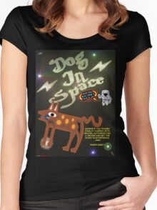 Dog In Space T-shirt Design Women's Fitted Scoop T-Shirt