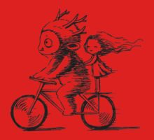 Girl and a monster on a bike Baby Tee