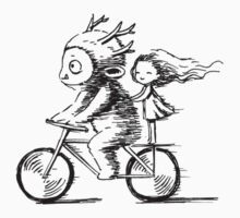 Girl and a monster on a bike Kids Tee