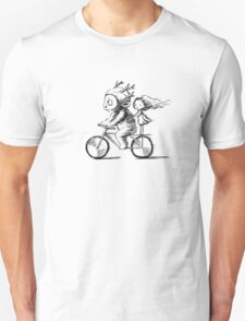 Girl and a monster on a bike Unisex T-Shirt