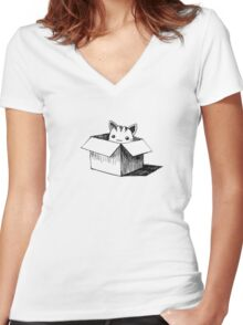 Cat in the box Women's Fitted V-Neck T-Shirt