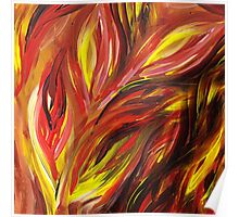 Abstract Floral Flaming Leaves Poster