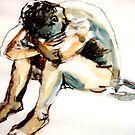 Male Life drawing model at rest. by Shirlroma
