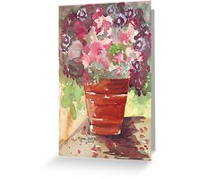 Dianthus in Terracotta Pot Greeting Card