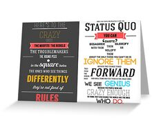 Here's To The Crazy Ones - In Memory of Steve Jobs Greeting Card