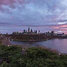 City landscape at sundown by Josef Pittner