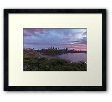 City landscape at sundown Framed Print