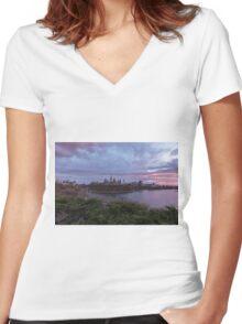 City landscape at sundown Women's Fitted V-Neck T-Shirt