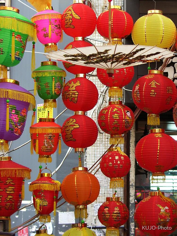 Chinese Lanterns, Ladies Market, Hong Kong by KUJO-Photo