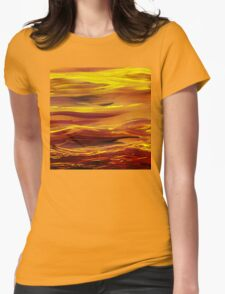 Yellow River Flow Abstract Womens Fitted T-Shirt