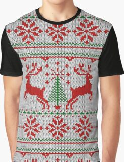 Holidays White Knit Ugly Christmas Sweater Ho Deer Graphic T-Shirt