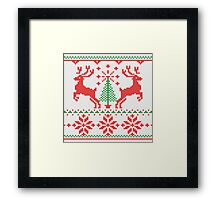 Holidays White Knit Ugly Christmas Sweater Ho Deer Framed Print