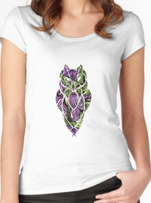 Owl Mosaic Pink / Green  Women's Fitted Scoop T-Shirt
