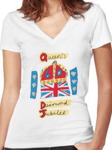 Queen Elizabeth II Diamond Jubilee Women's Fitted V-Neck T-Shirt
