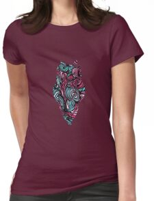 Owl Mosaic Blue / Red  Womens Fitted T-Shirt