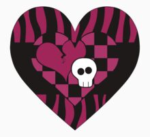 Girly punk dark fuschia and zebra stripes with skull heart by Gothicmama