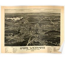 Panoramic Maps South Weymouth Norfolk County Mass 1885 Poster