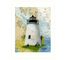 Piney Pt Lighthouse MD Nautical Chart Cathy Peek Art Print