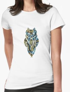 Owl Mosaic Blue / Yellow Womens Fitted T-Shirt