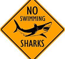 Sharks Yellow Diamond Warning Sign by ukedward