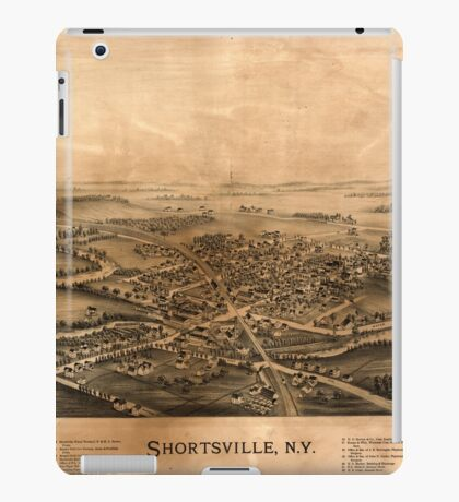 Panoramic Maps Shortsville NY iPad Case/Skin