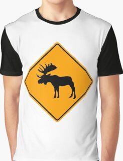 Moose Elk Yellow Diamond Warning Sign Graphic T-Shirt