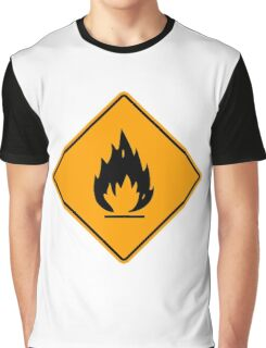 Flammable Yellow Diamond Warning Sign Die Cut Sticker Graphic T-Shirt