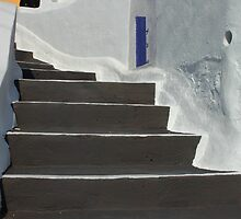 Stairway In Fira Greece by Bob Christopher
