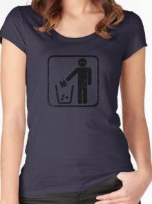 Keep Gotham Clean - Black Distressed Women's Fitted Scoop T-Shirt